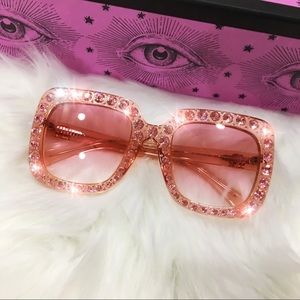 Authentic Gucci Oversize Pink Crystal Sunglasses